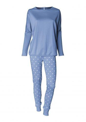 Louis & Louisa Damen Schlafanzug/Pyjama Oversize HIMMLISCH SCHÖN grau/grau Sterne allover