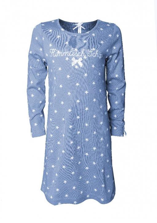 Louis & Louisa Mädchen Nachthemd HIMMLISCH SCHÖN grau Sterne weiß