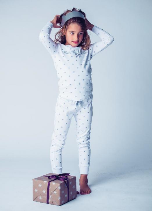 Louis & Louisa Mädchen Schlafanzug HIMMLISCH SCHÖN weiß Sterne grau
