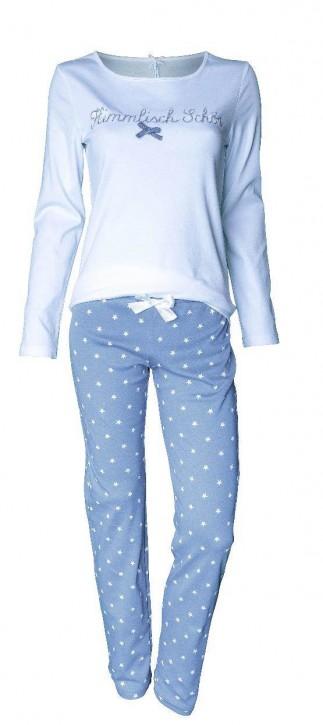 """Louis & Louisa Damen Schlafanzug/Pyjama """"Himmlisch schön"""", weiß/grau mit Sternen"""