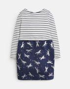 Joules Mädchen Kleid ORIANE Glitzer Einhorn Streifen marineblau