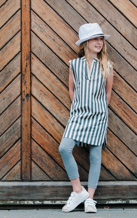 KIE stone Kleid Streifen grey