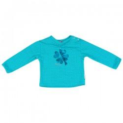 Kiezel-tje Mini Langarm-Shirt/Longsleeve dot Kleeblatt aqua