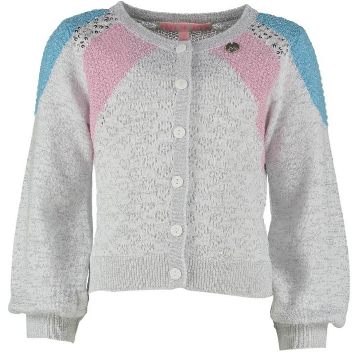 Mim-Pi Strick-Cardigan Ajour silber powder-pink powder-blau