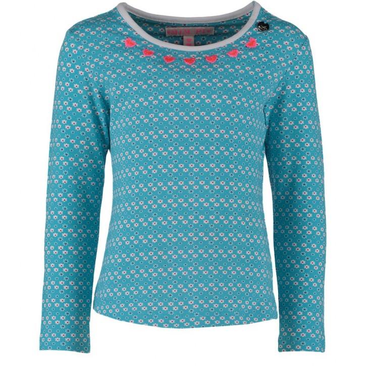 Mim-Pi Langarm-Shirt/Longsleeve Blümchen türkis