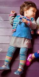 Mim-Pi Baby Strumpfhose Blockstreifen grau-aqua-bunt