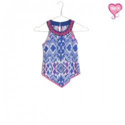 Mim-Pi Top / Bluse blau-weiss-pink
