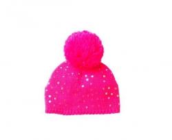 Mim-Pi Strick-Mütze mit Bommel pink