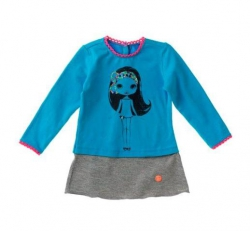 Mim-Pi Baby Kleid Püppchen aqua-grau