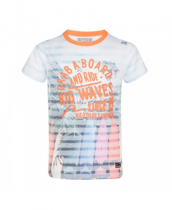 RETOUR DENIM T-Shirt KIERAN neon orange