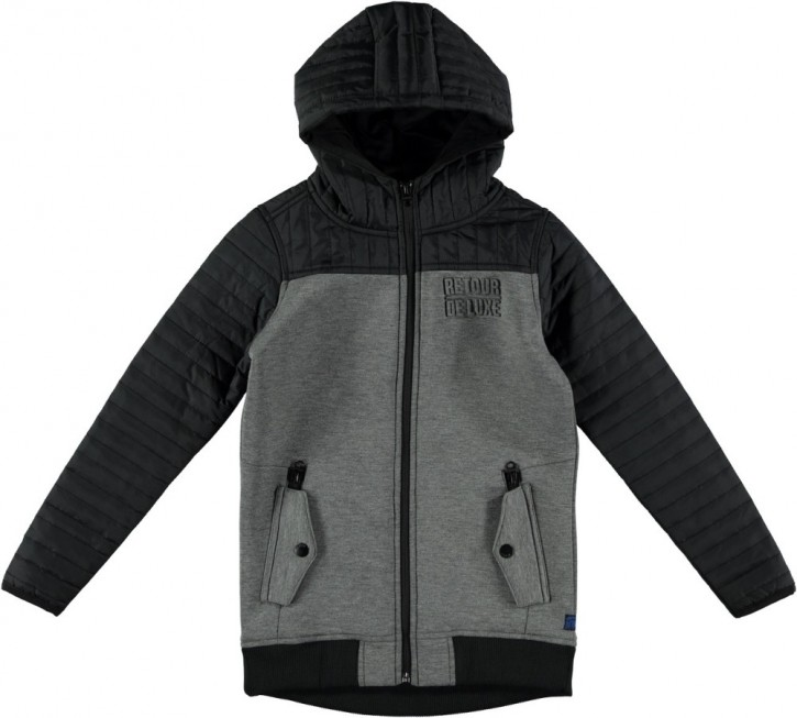 RETOUR Sweat-Jacke mit Kapuze TONIO antra melange black old