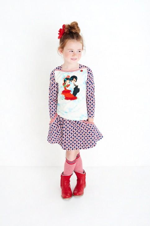 Mim-Pi Langarm-Shirt/Longsleeve Flamenco-Tänzer rot-weiß-blau