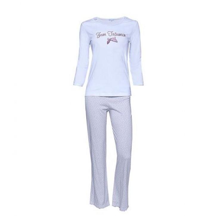 """Louis & Louisa Damen Schlafanzug/Pyjama """"Zum Träumen"""" weiß / beige"""