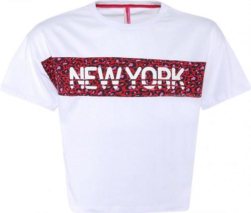 Blue Effect Mädchen Boxy-T-Shirt NEW YORK schneeweiß