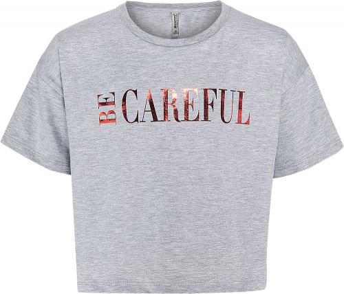 Blue Effect Mädchen Boxy T-Shirt BE CAREFUL hellgrau melange
