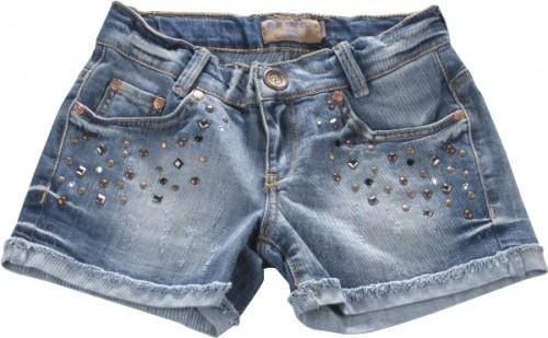 Blue Effect Mädchen Jeans-Short mittelblau Nieten Stars