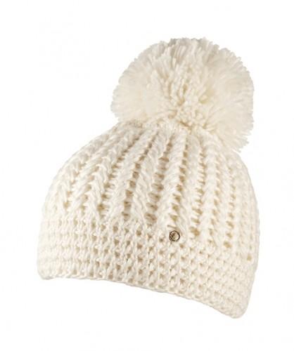 CAPO Strick-Beanie/Mütze mit Pompom ecru
