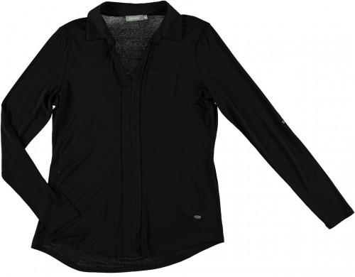 Geisha Jersey-Bluse / Langarm-Shirt / Longsleeve schwarz