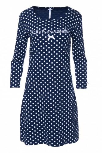 Louis & Louisa Damen Nachthemd Rippe EINFACH WUNDERBAR blau Allover
