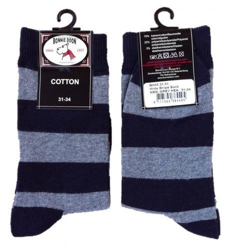 Bonnie Doon Socken WIDE STRIPE Steifen grau-navy 40-46