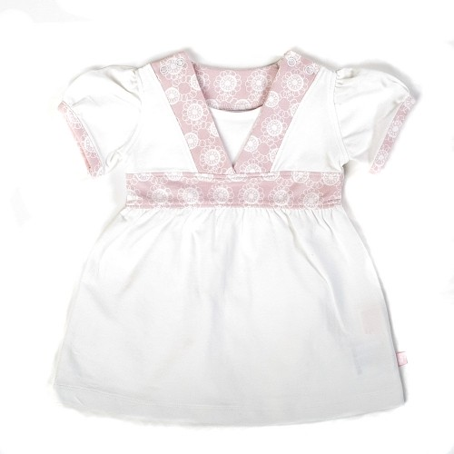 Ducky Beau Tunika / Kleid weiss-rosa Gr. 68