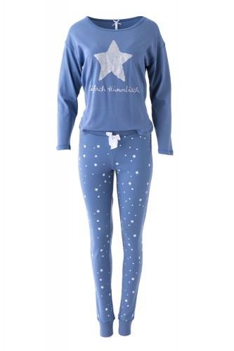 """Louis & Louisa Damen Schlafanzug/Pyjama Oversize """"Einfach Himmlisch"""" Stern blau/blau allover L"""