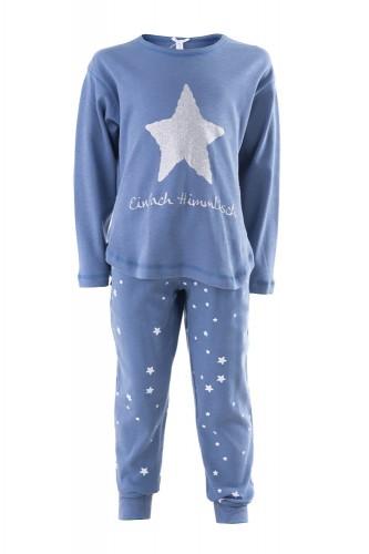 """Louis & Louisa Mädchen Schlafanzug/Pyjama Oversize """"Einfach Himmlisch"""" Stern blau/blau allover"""
