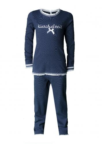 Louis & Louisa Mädchen Schlafanzug/Pyjama EINFACH WUNDERBAR blau/blau allover