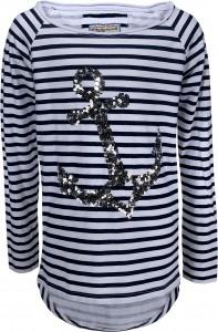 Blue Effect Mädchen Langarm-Shirt/Longsleeve ANKER Streifen blau/weiß