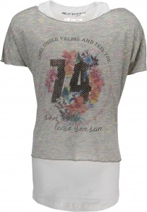 Blue Effect Doppel-Shirt/T-Shirt grau melange/ecru