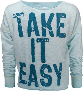 "Blue Effect Langarm-BOXY-Shirt ""Take it easy"" polar"