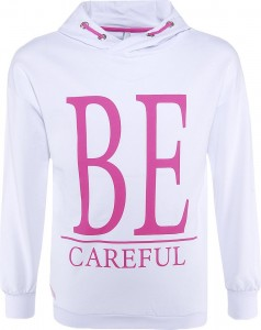 Blue Effect Mädchen Kapuzen-Sweat-Shirt / Hoodie BE CAREFUL schneeweiß