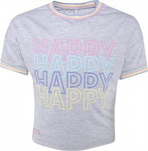 Blue Effect Mädchen Boxy-T-Shirt HAPPY hellgrau mele 140