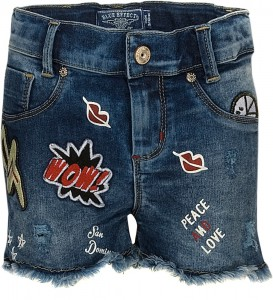 Blue Effect Mädchen Jeans-Short Patches blue denim