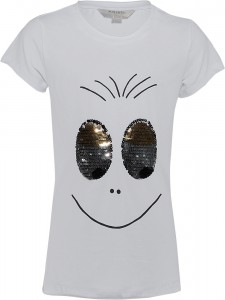 Blue Effect Mädchen T-Shirt Wendepailletten AUGEN weiß