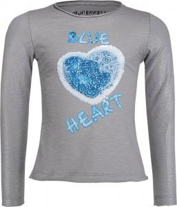 Blue Effect Mädchen Langarm-Shirt/Longsleeve Wendepailletten BLUE HEART mausgrau
