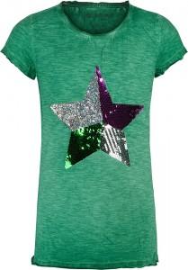 Blue Effect Mädchen T-Shirt Wendepailletten STERN wiesengrün