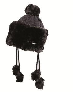 CAPO Strick-Mütze mit Webpelz schwarz