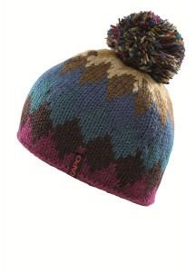 CAPO Rauten-Handstrick-Mütze mit Bommel raspberry
