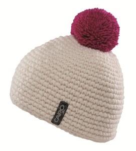 CAPO Handstrick-Mütze mit Bommel ecru