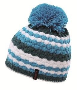 CAPO Mütze mit Pompon schmale Streifen azure