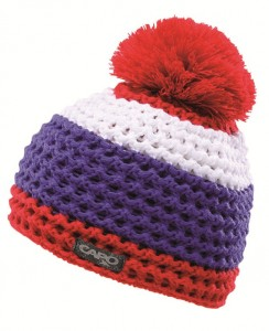 CAPO Mütze mit Pompon Streifen fire