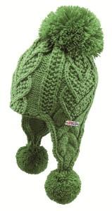 CAPO KIDS Inka-Strick-Mütze mit Pompons grasgrün