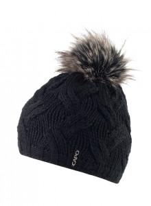 CAPO Strick-Beanie/Mütze mit Fell-Pompom schwarz