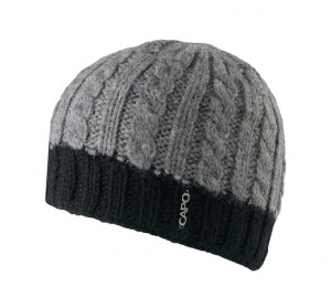 CAPO Handstrick-Beanie/Mütze grau