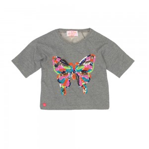 Mim-Pi 3/4-Arm-Shirt/Sweater Schmetterling grey melange