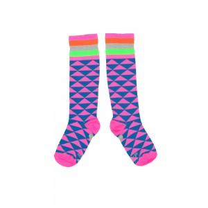 Mim-Pi Kniestrümpfe Dreiecke blau/pink