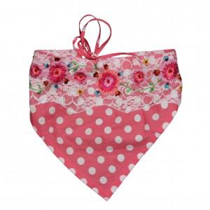 Mim-Pi Dreiecks-Haartuch soft pink-weiss