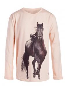 little PIECES Langarm-Shirt/Longsleeve Pferd cameo rose