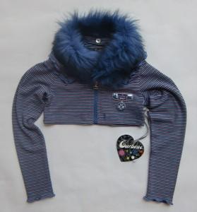Carbone Kurz-Cardigan / Jacke Streifen schwarz-bunt